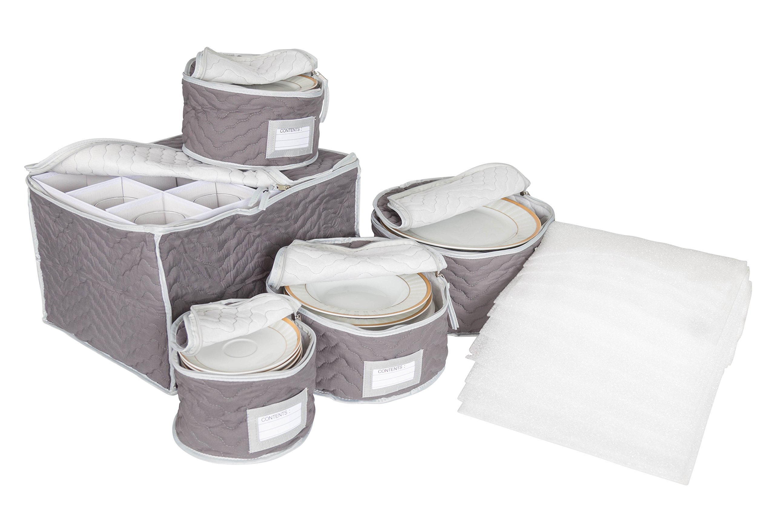 China and Stemware Storage Set Deluxe Microfiber with Braidz Foam Padding - Grey by Richards