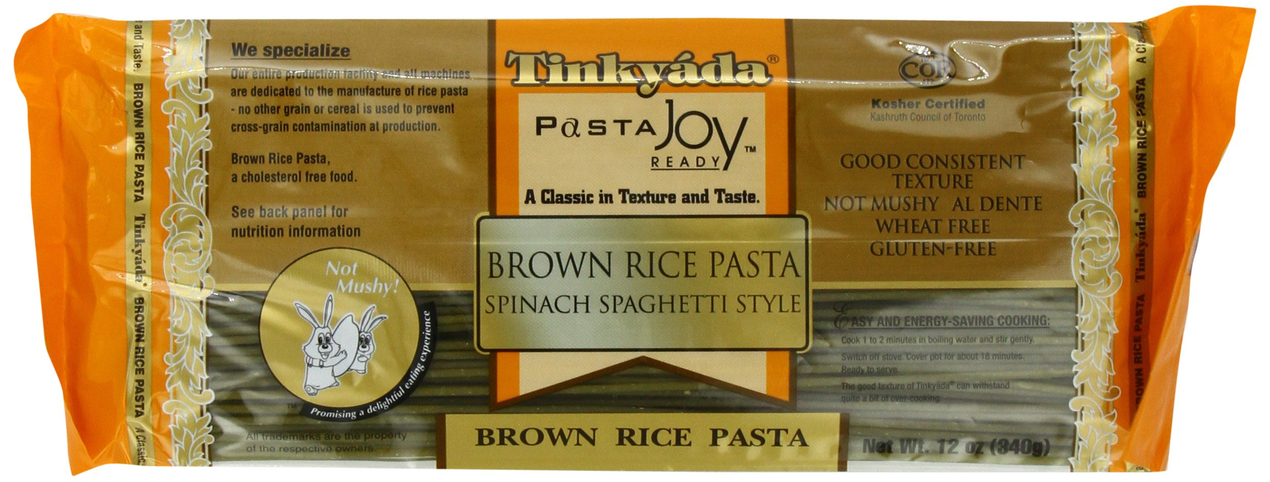 Tinkyada Brown Rice Pasta, Spaghetti with Spinach, 12 Ounce (Pack of 12) by Tinkyada