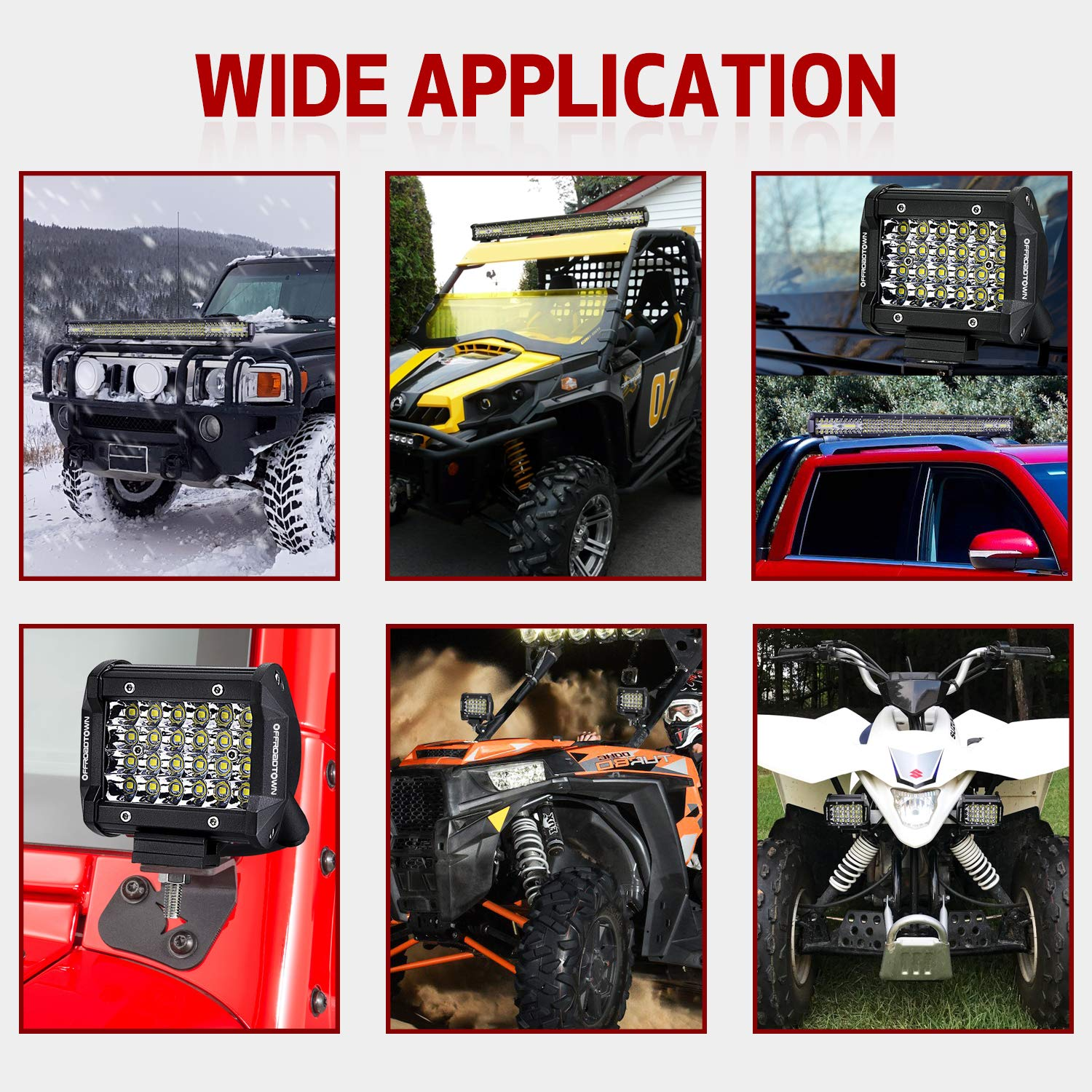2pcs 8inch Black Protective Polycarbonate Light Cover Kits OFFROADTOWN Black Light Bar Cover