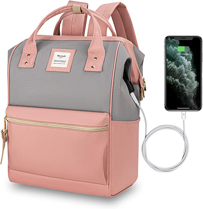 Hethrone Water Resistant Laptop Backpack 15.6 Anti Theft Travel School Computer Bag with USB Port Pink Gray