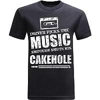 tees geek Driver Picks The Music Shotgun Shuts His Cakehole Funny Novelty Tshirt