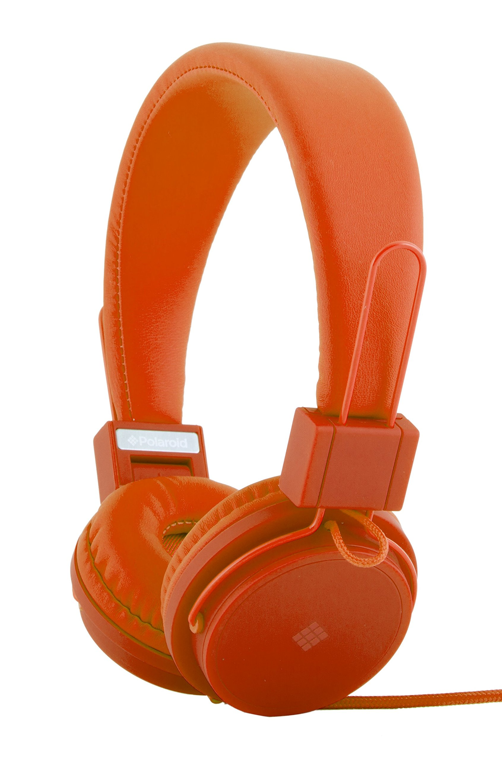 Polaroid PHP8500OR Neon Headphones with Mic, Foldable, Tangle-Proof, Compatible with All Devices, Orange