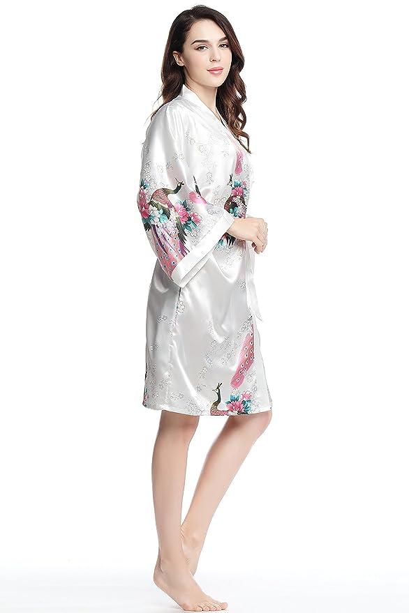 ArtiDeco Kimono Floral Robe Traje de Boda Kimono de Seda Túnica de Satén 1920s Ropa de Dormir 37