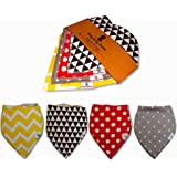 Omg Baby Boom - Baby Bandana Drool Bibs with Snaps - Handkerchief Bibs For Babys - Unisex 4-Pack - Organic Cotton - Keep Infants and Dry & Clean While Teething while Bottle Feeding – Gift for New Mom