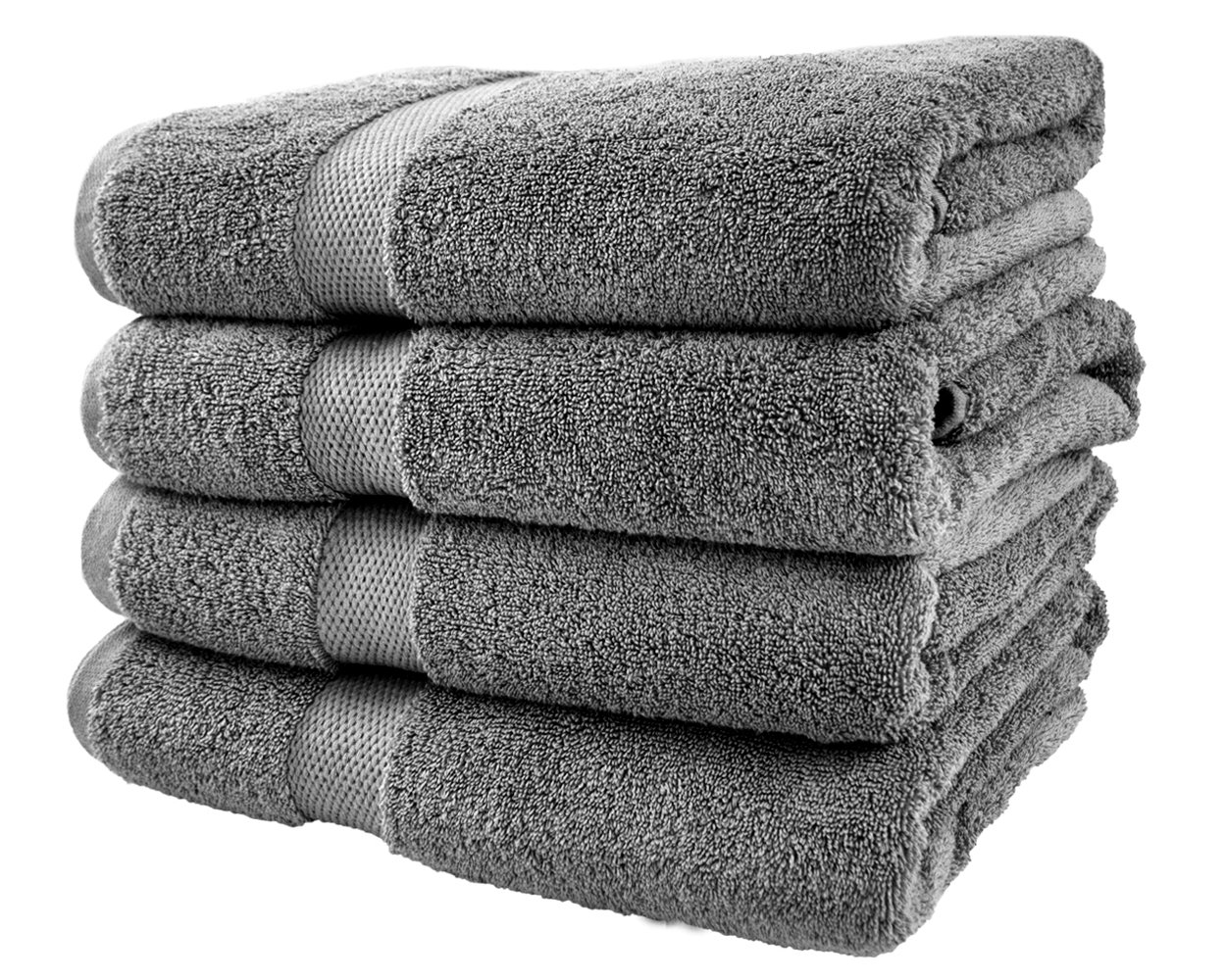 Cotton & Calm Exquisitely Plush and Soft Bath Towel Set, Grey - 4 Large Bath Towels Set - Spa Resort and Hotel Quality, Super Absorbent 100% Cotton Luxury Bathroom Towels