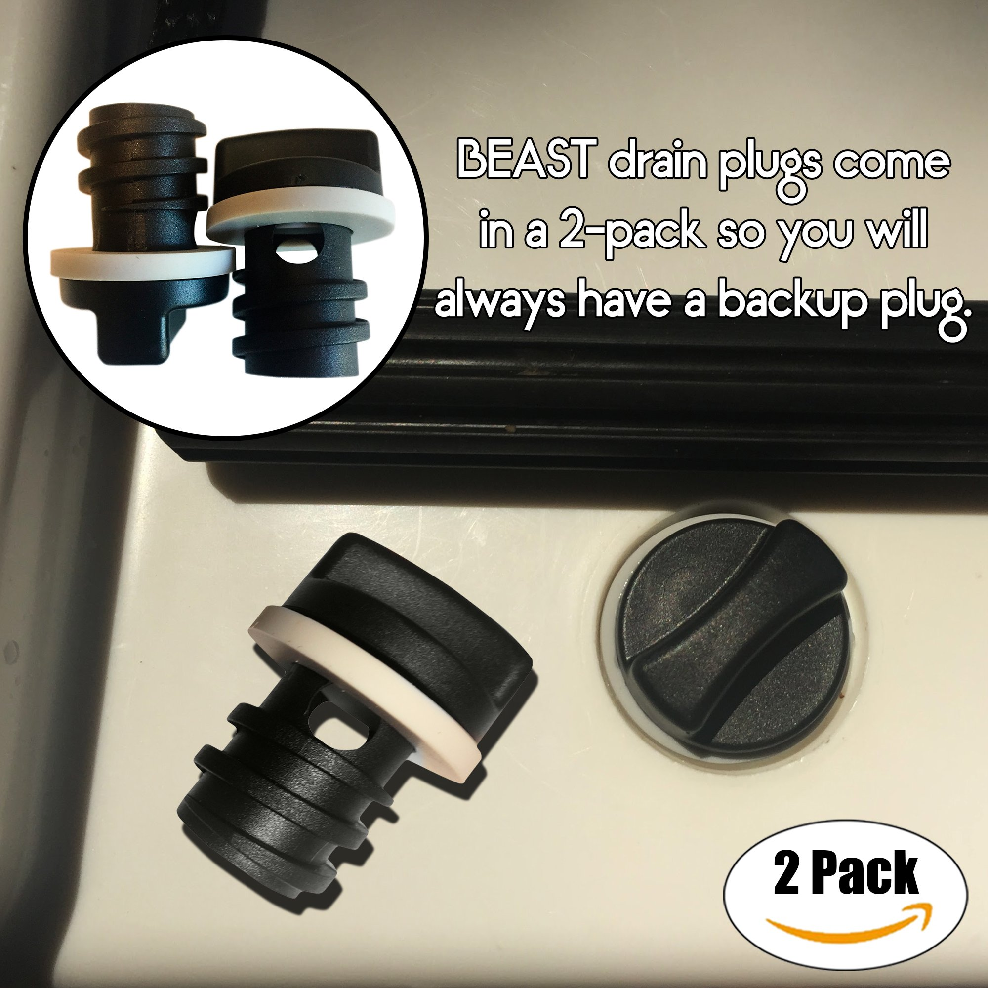 2-Pack of Replacement Drain Plugs for Yeti Coolers - Ergonomically Improved Drain Plug compatible with Yeti's Line of Roadie, Tundra, and TANK Coolers by BEAST Cooler Accessories (Image #3)