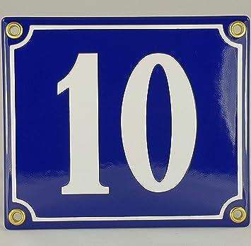 BBV Emaille - Cartel (Número de Casa 10 Azul de color blanco ...