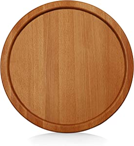 WOODLA Wood Serving Round Tray 14 inch Charcuterie Grazing Boards Cheese Food Crackers Plate Serveware for Party Cheeseboard Beechwood For Coffee Table Fruit Cake Serving Platter Home Decor