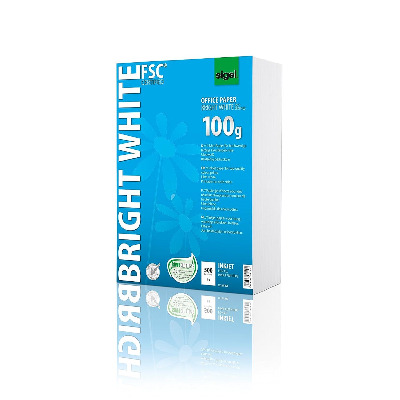 Sigel IP150 - Carta per stampante a getto d'inchiostro, risma da 500 fogli da 100 g, formato A4, stampa fronte-retro, colore: Bianco brillante In custodia protettiva ottimizzata 100 g Sigel GmbH IP151