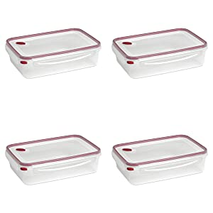 Sterilite 03426604 Ultra-Seal 16 Cup Food Storage Container, See-Through Lid & Base with Rocket Red Accents, 4-Pack
