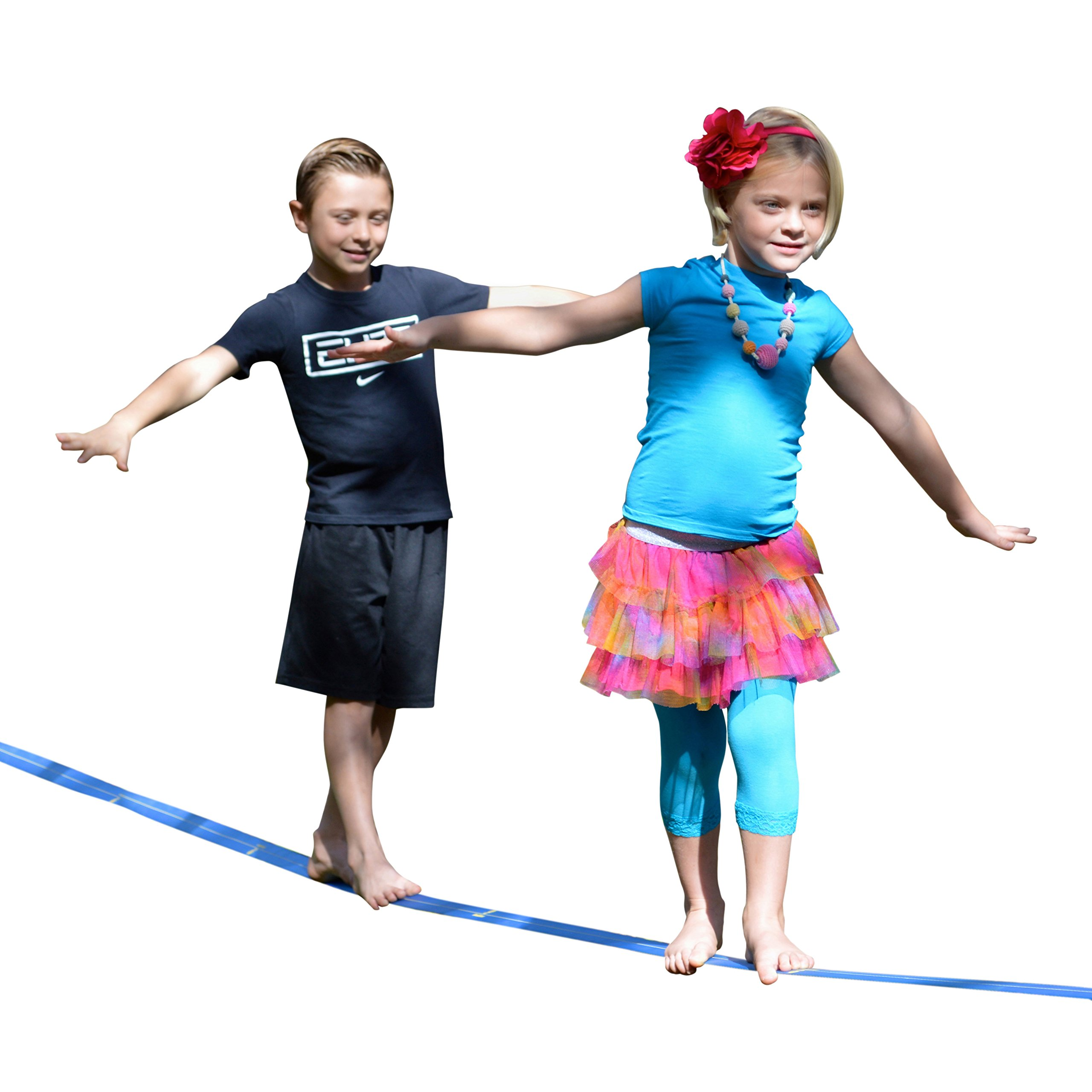 Beginner Slackline by Goodtimes - 48' Long and 2'' Wide Extra Soft Nylon Webbing W/ Durable Safety Ratchet + Easy Slacklines Set Up Guide. The Best Slacklining Gift Kit. Great for Kids Adults Teens