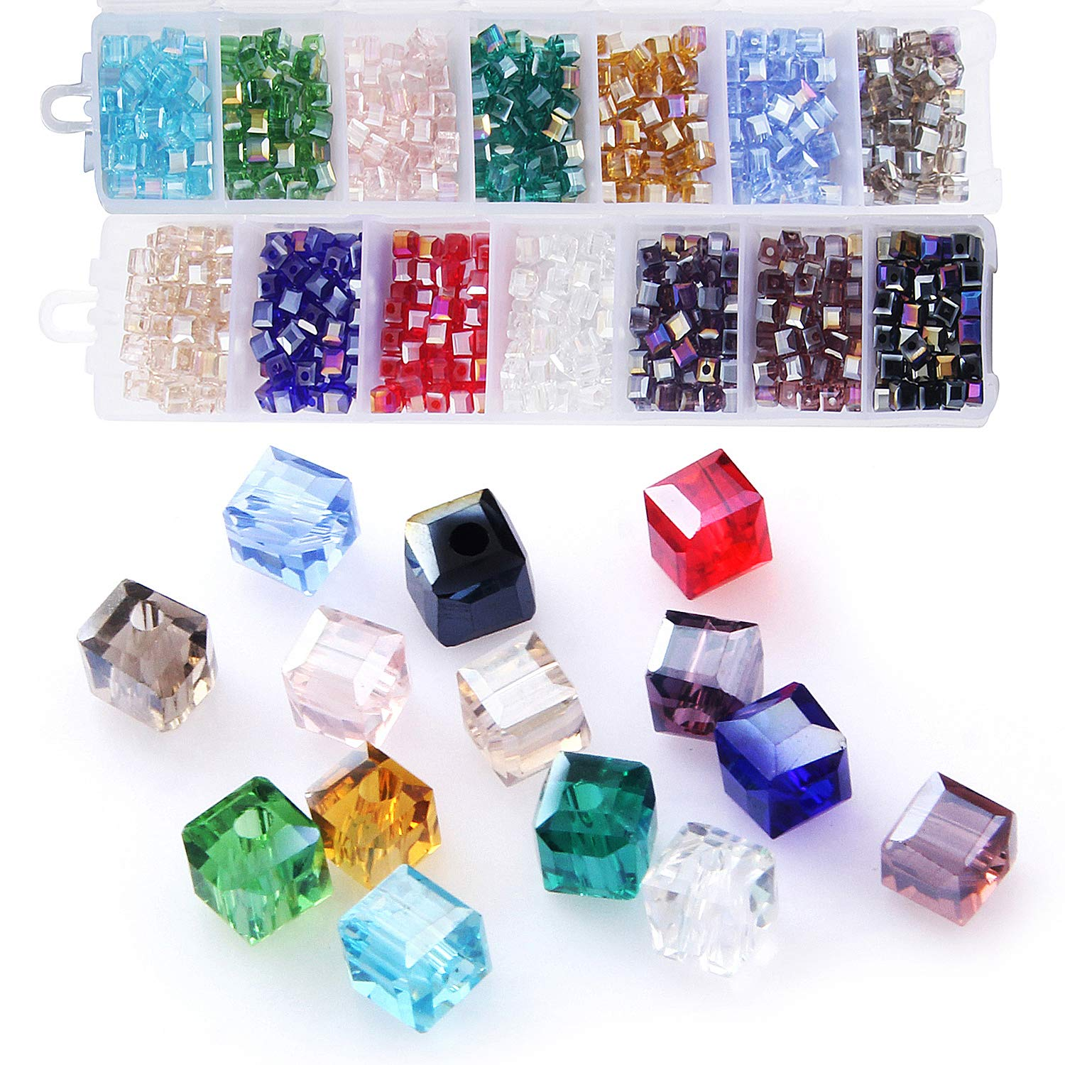 Cube Crystal Glass Beads, Wholesale Crystals Beading (Similar Cut #5601)  Faceted Square Shape 4mm Lot 700pcs 14 Colors with Free Container Box,ZHUBI