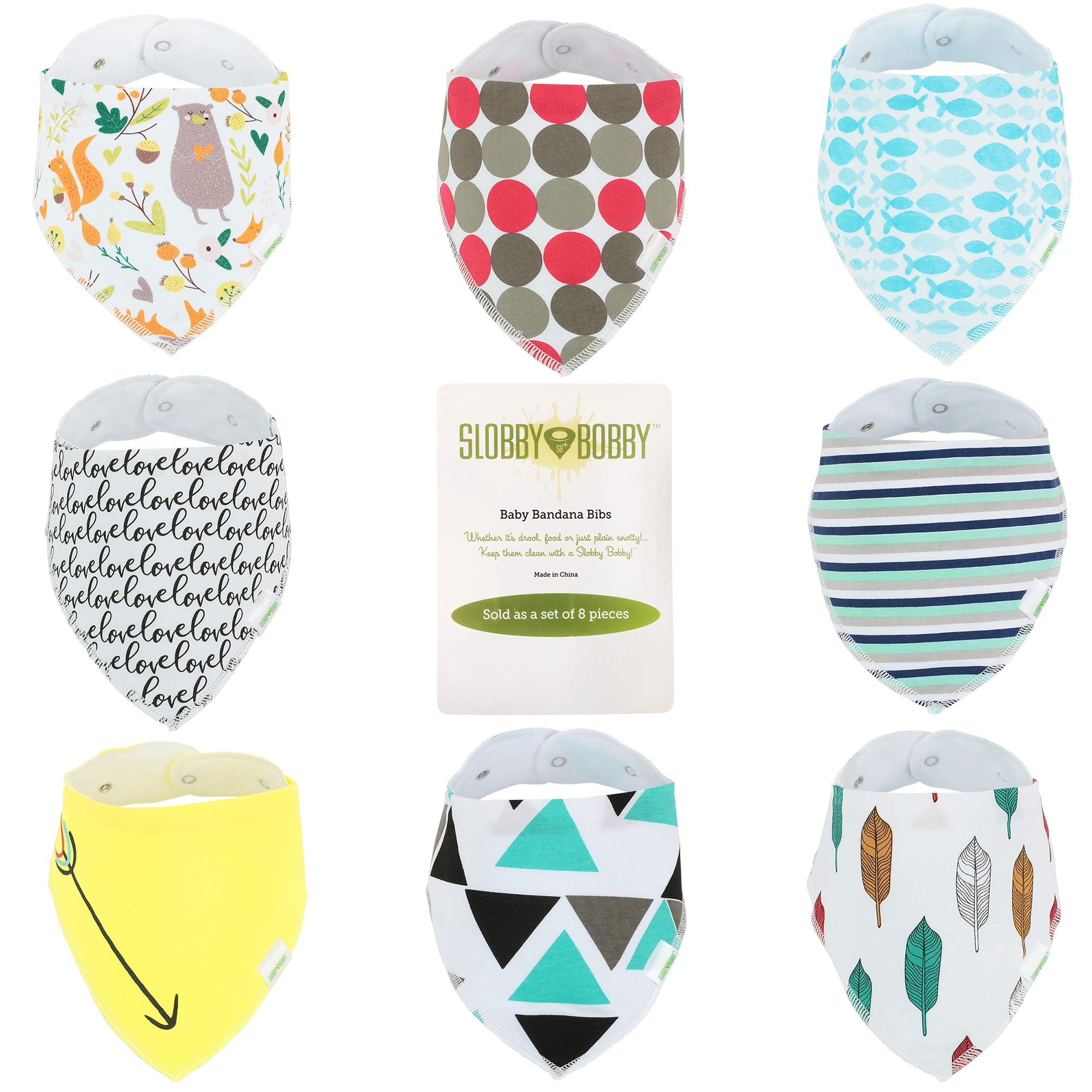 Baby Bandana Drool Bibs for Boys, 8 Pack Cotton Baby Scarf Bibs with Snaps | Ultra Absorbent for Drooling & Teething, Hypoallergenic & Adjustable | Great Baby Shower Gift