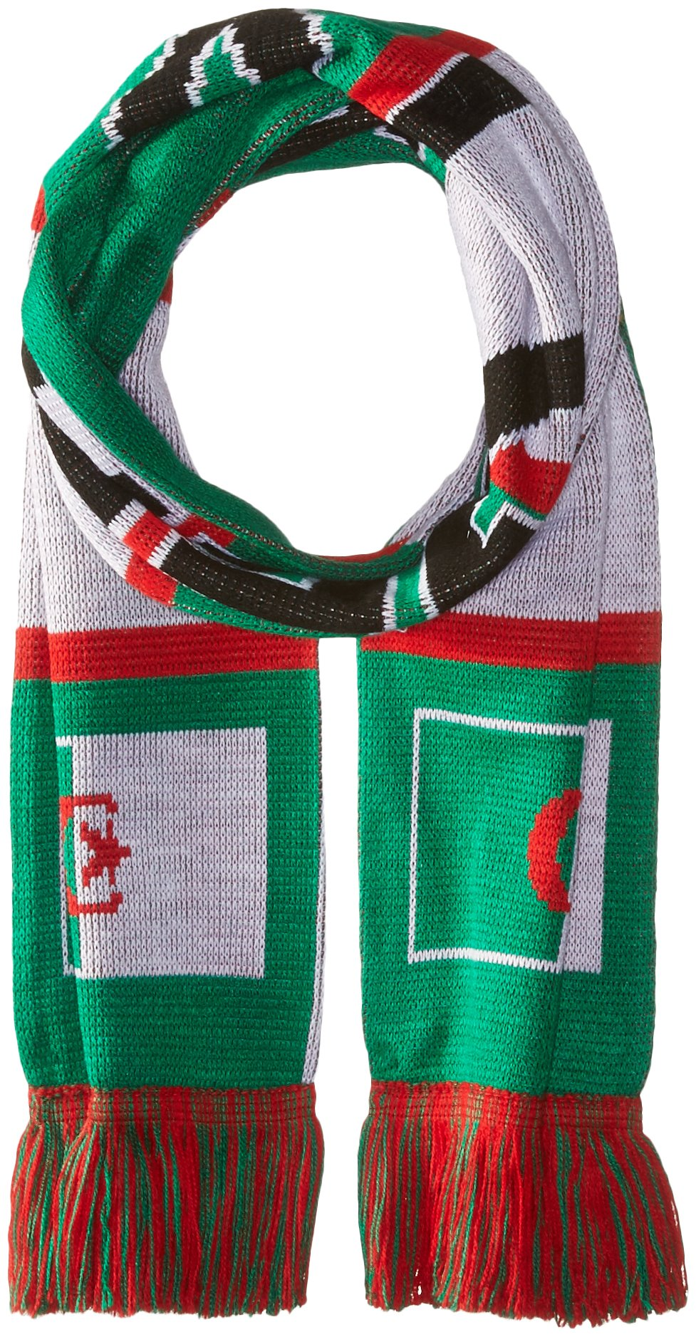 RUFFNECK National Soccer Team Algeria Jacquard Knit Scarf, One Size, Green/White/Red