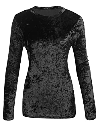 85fc0bf4a53f1a Zeagoo Womens Long Sleeve Crop Top Casual Velvet T-Shirt Tops,Black,Small