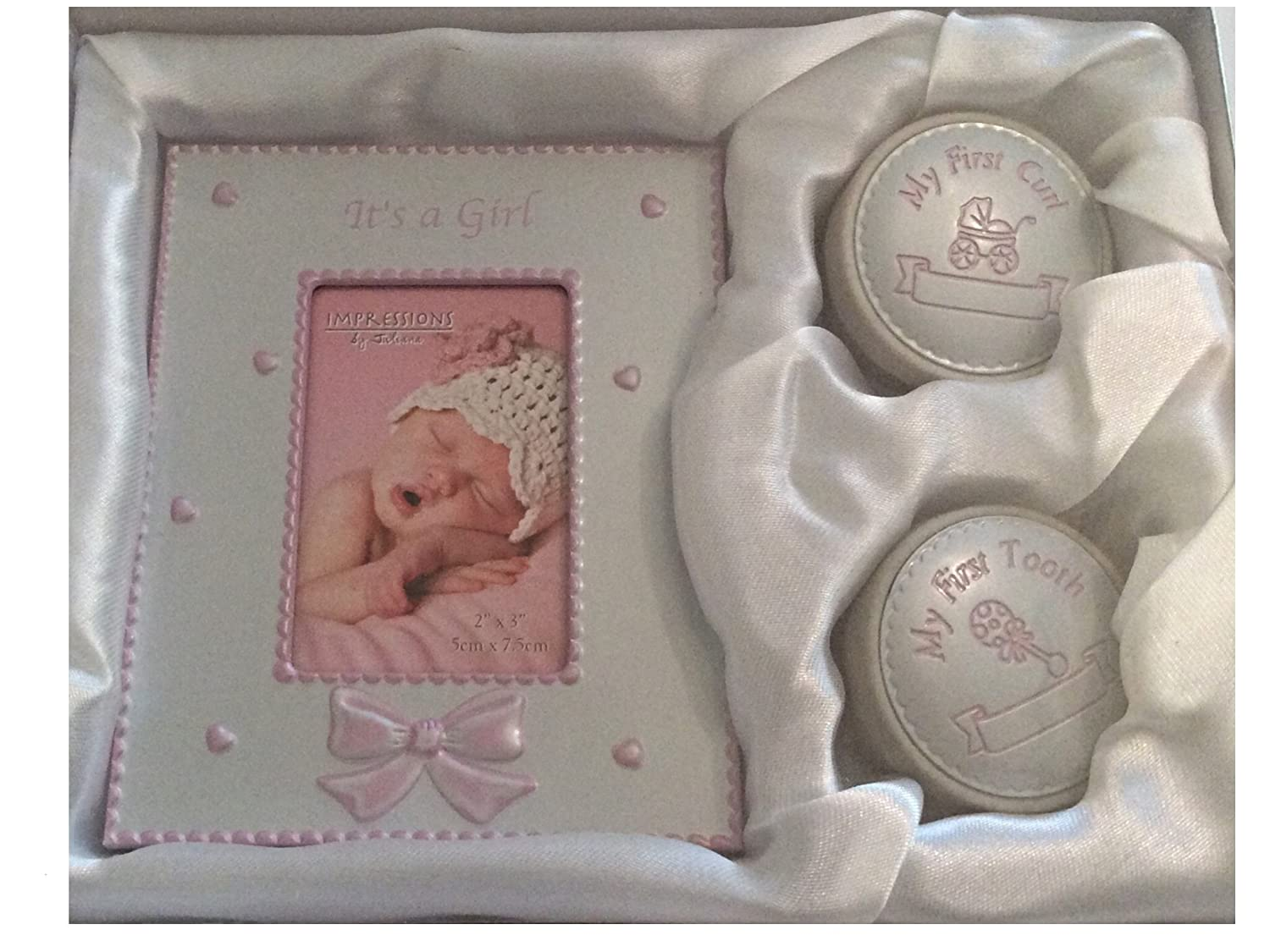 Pink PHOTO FRAME WITH FIRST CURL AND FIRST TOOTH BOXES BABY GIFT SET