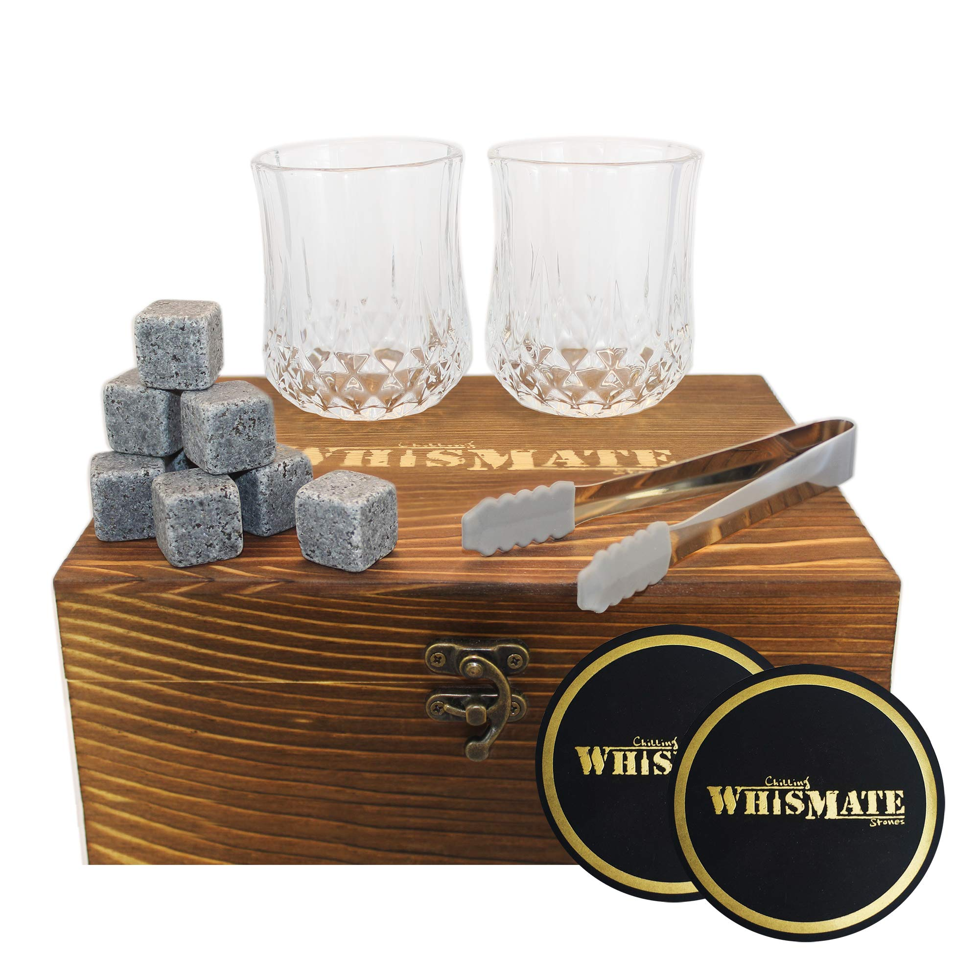WHISMATE Whiskey Set with 2 Large Crystal Glasses in Handmade Box Includes 8 Granite Chilling Stones Cubes, Velvet Bag, 2 Coasters and a Tong, Reusable Ice Rocks, Great for Dad's Birthday, Dad's Day by WHISMATE
