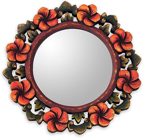 NOVICA Plumeria Garland Wood Wall Mirror