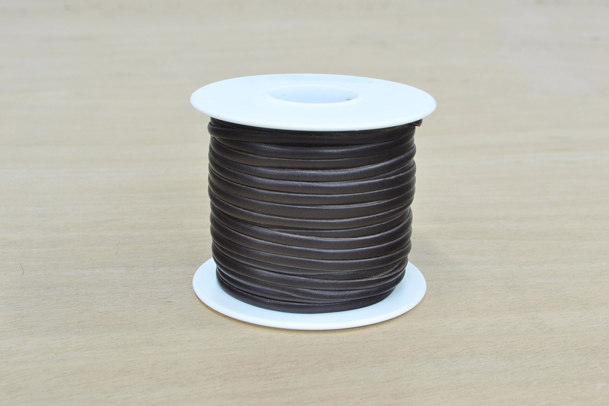 Calfskin Leather Lacing Spool 1/8'' x 50 Yards Dark Brown Flat Satin Lace