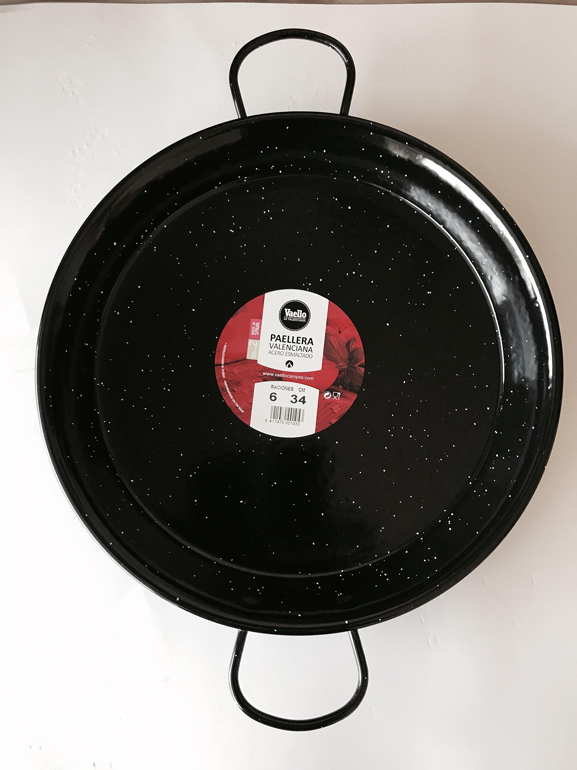 Enamelled Steel Valencian paella pan. 14Inch / 34cm / 6 Servings