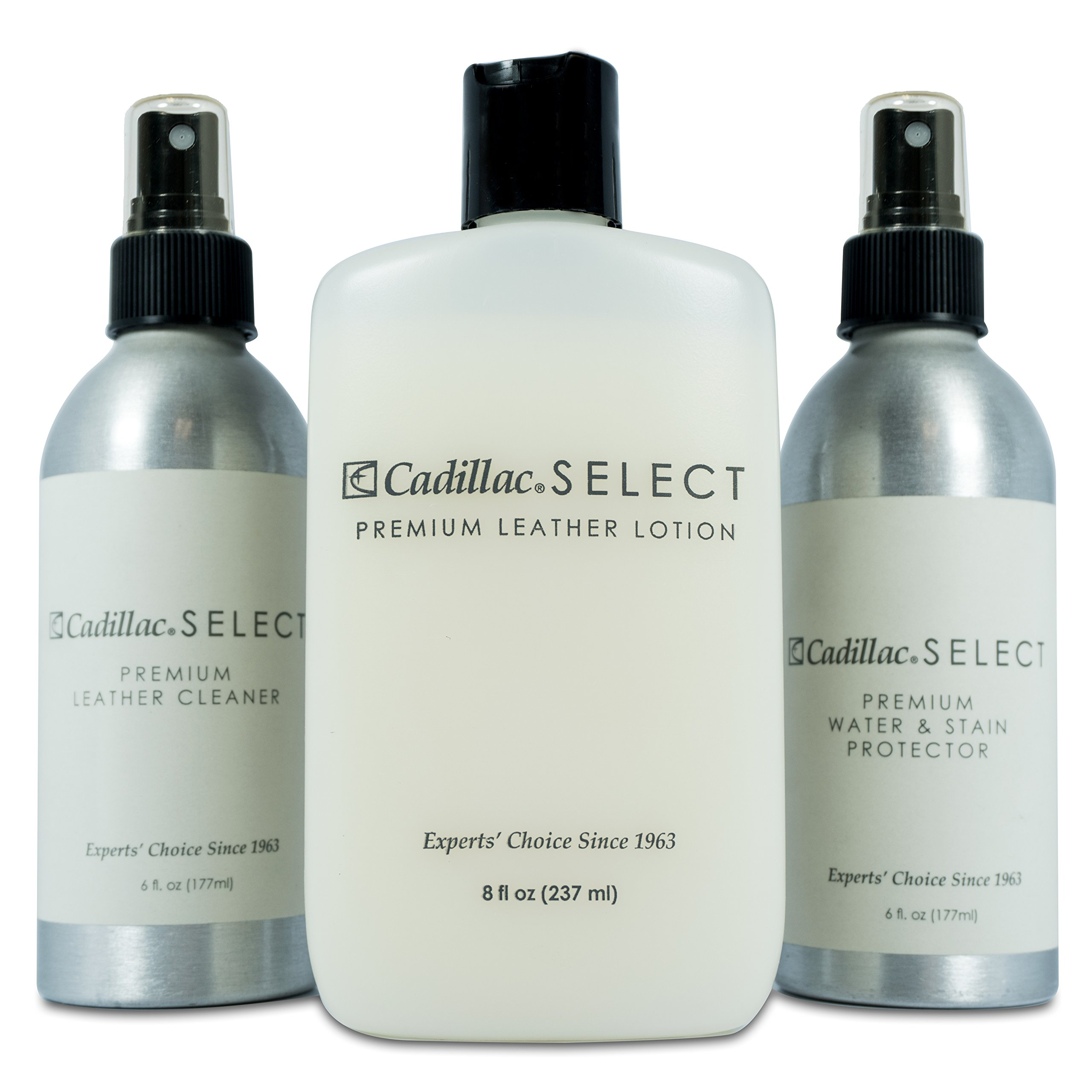 Cadillac Select Premium Leather Care Kit - Leather Cleaner, Lotion Conditioner & Water & Stain Protector