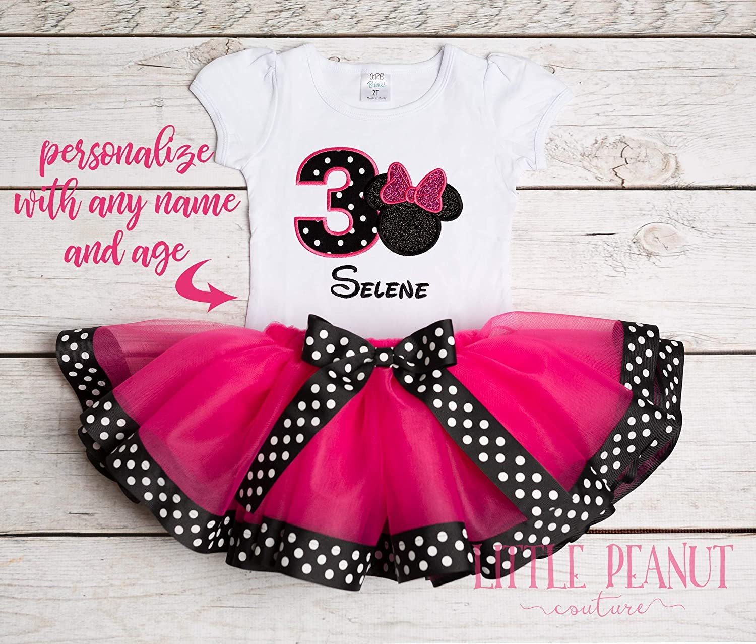 BIRTHDAY minnie mouse   dress  PARTY OUTFIT   short sleeve