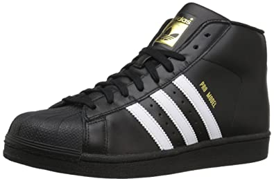 adidas Originals Men s Pro Model Running Shoe Black White Metallic Gold (4 f9772383e