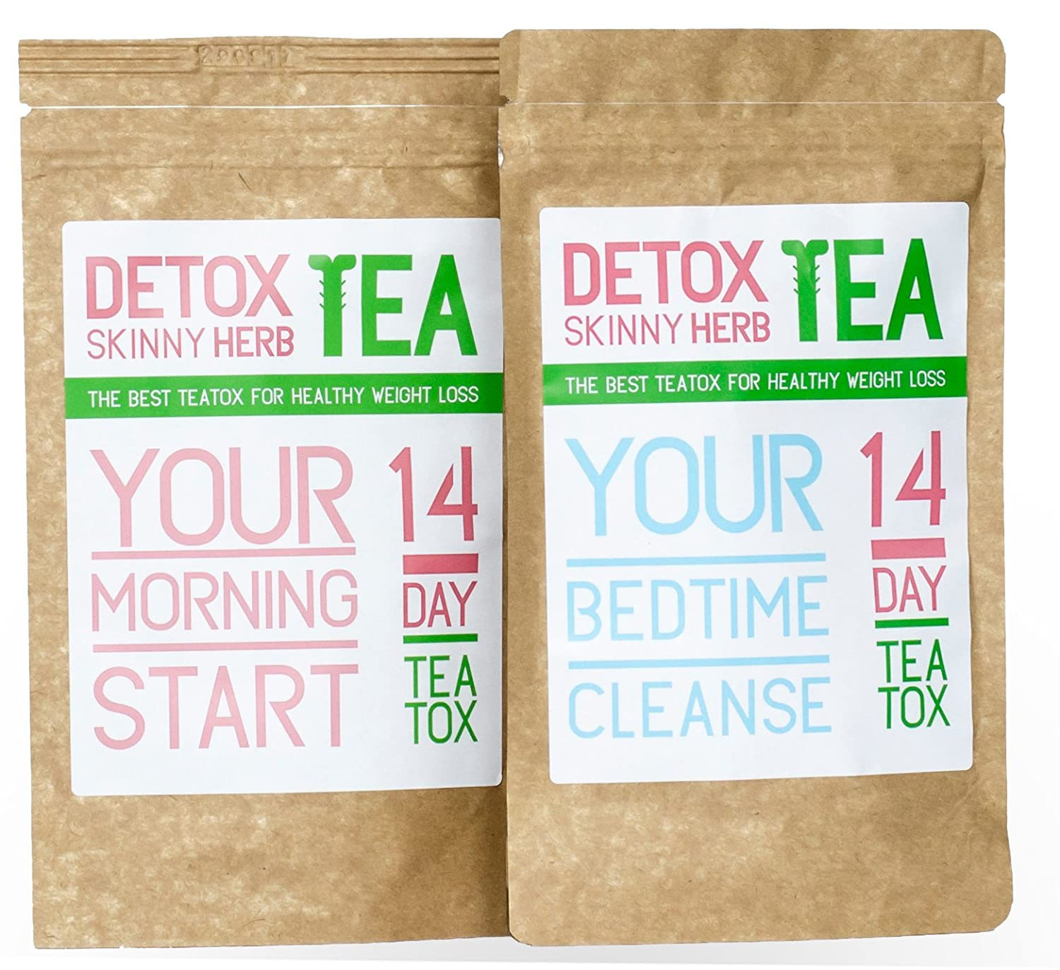 14 Days Teatox Detox Skinny Herb Tea – Effective Detox Tea, Body Cleanse, Reduce Bloating, Natural Weight Loss Tea, Boost Metabolism, Appetite Suppressant 100 NATURAL