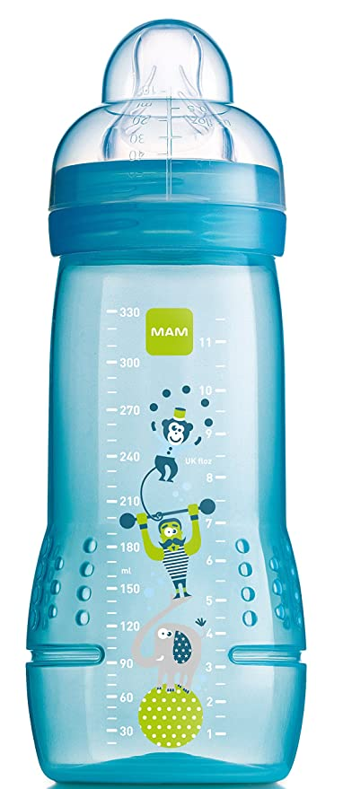 MAM - Biberón con tetina (orificio grande, 330 ml), color ...