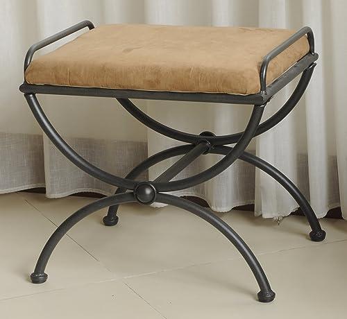 International Caravan Vanity Stool with Microsuede Cushion, Black Brown