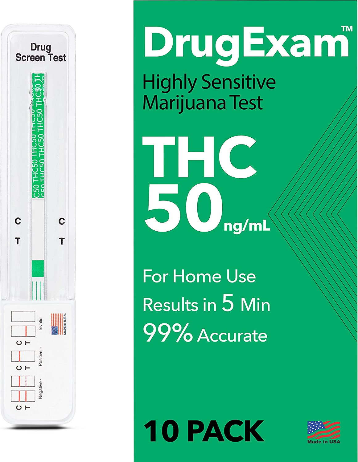 10 Pack - DrugExam Made in USA Highly Sensitive Marijuana THC 50 ng/mL Single Panel Drug Test Kit - Marijuana Drug Test with 50 ng/mL Cutoff Level for Detecting Any Form of THC in Urine up to 45 Days