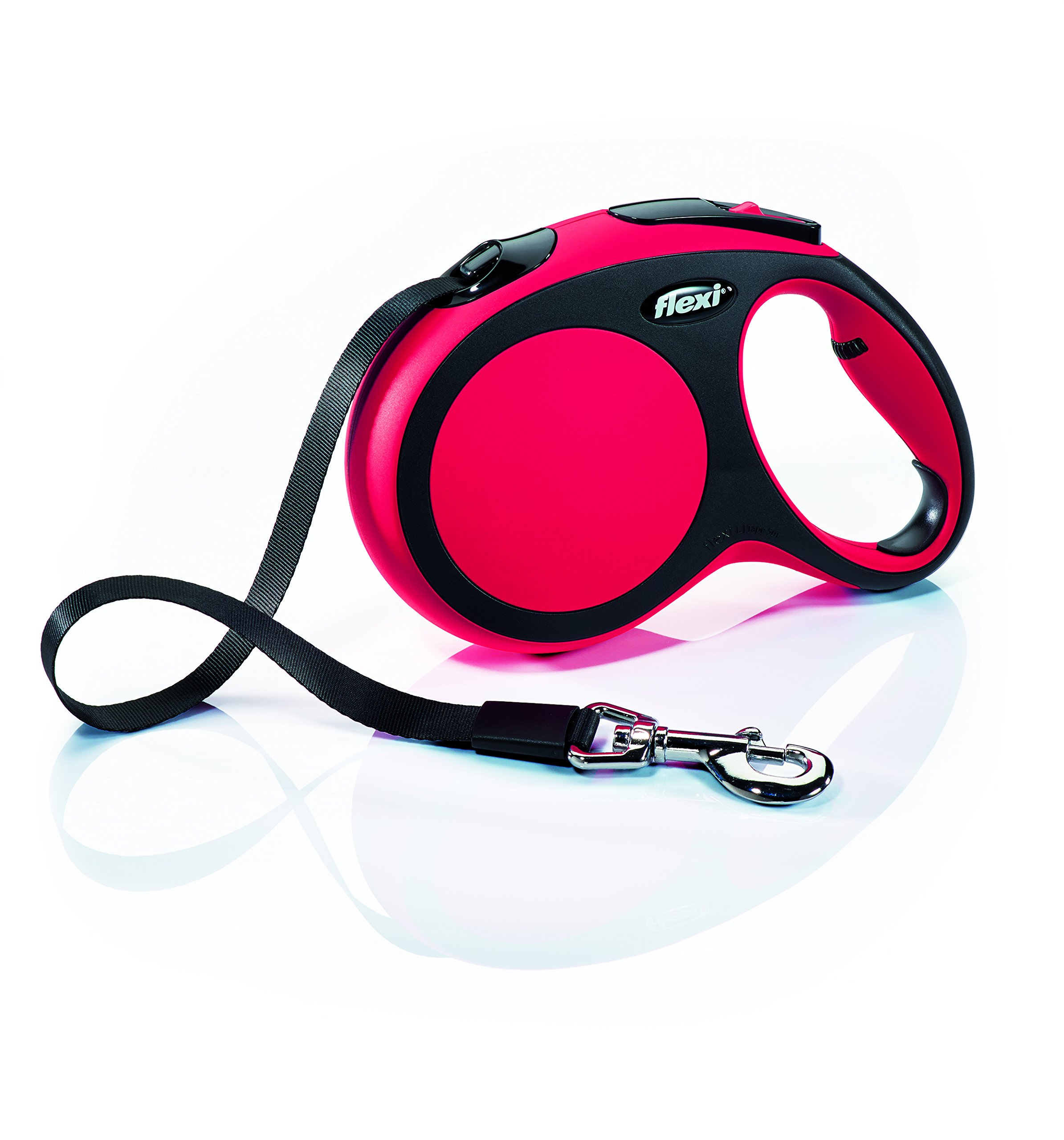 Flexi New Comfort Retractable Dog Leash (Tape), 16 ft, Large, Red by Flexi
