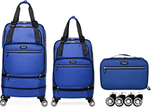 Foldable Luggage Bag with Spinner wheels,Expandable Collapsible Rolling Duffel Bag,Large Suitcase for Travel , Checked Luggage 24/28inches (2 in 1), Blue