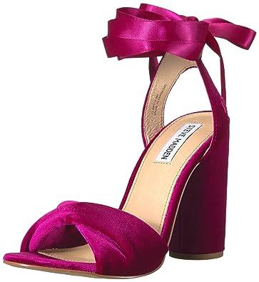 0109864936d Steve Madden Women s Clary-v Dress Sandal Magenta Velvet 11 M US