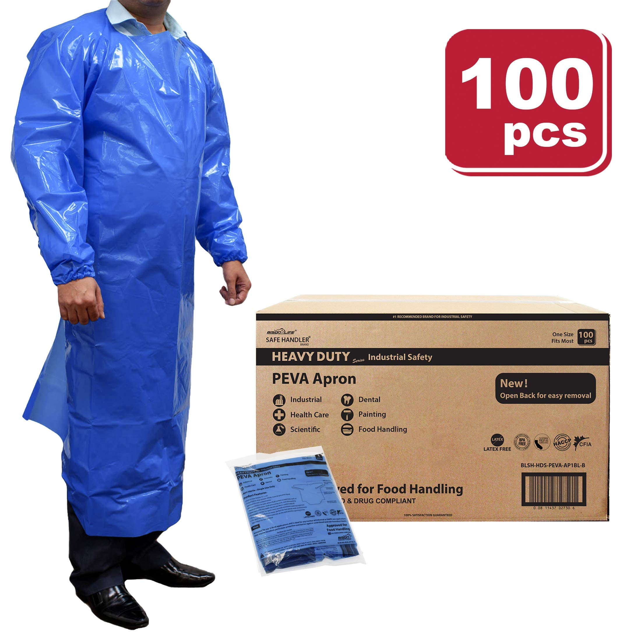SAFE HANDLER Peva Apron, Polyethylene Vinyl Acetate | Open Back for Easy Removal, Waterproof and Disposable, BLUE (Case of 100)