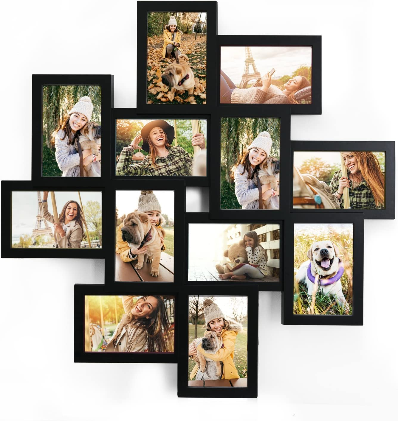 Amazon Com Adeco 12 Openings Plastic Wall Hanging Collage Picture Photo Frame Made To Display Twelve 4x6 Photos Or Print Black