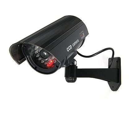 Negra Dummy Fake Cámara Vigilancia Falsa cámara de vídeo con LED rojo, 1x Dummy Kamera