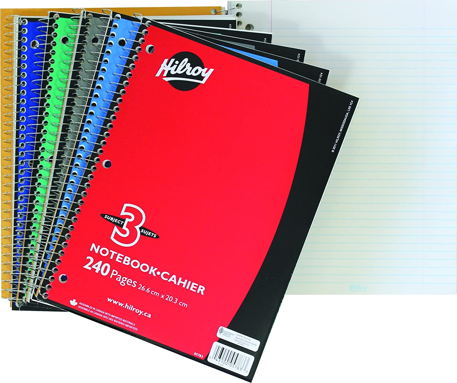 Hilroy Coil 1-subject Wide Ruled Notebook, 10.5 X 8 Inches, 3 Hole Punched, 100 Sheets (200 Pages), 1 Notebook, Color May Vary (13224)