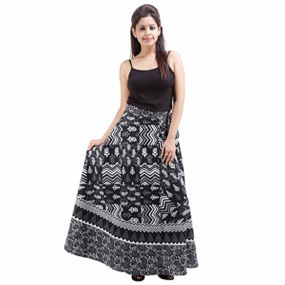 """5e976cffa6 Jaipur Skirt Women's Traditional and Stylish Cotton Printed Wraparound Skirt  (""""Assorted Colors and Assorted Designs"""" Free Size) Black: Amazon.in:  Clothing & ..."""