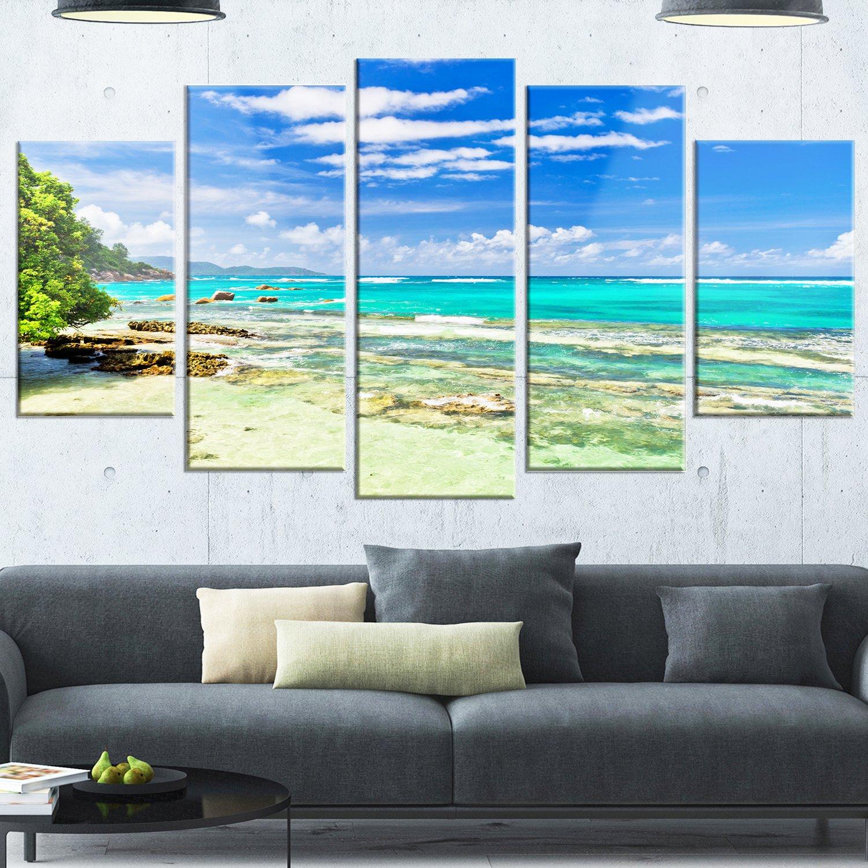 Modern Seascape Glossy Metal Wall Art 32 H/x/60 W/x/1 D 5PD Designart Tranquil Seychelles Tropical Beach