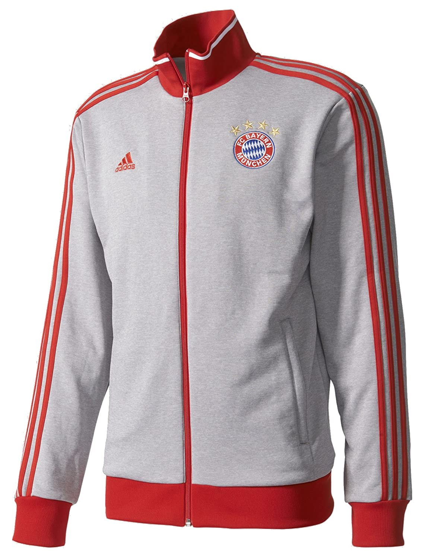 AdidasメンズサッカーメンズFC Bayern Munichトラックトップ B01LXHJFL6 Small|Medium Grey Heather/Fcb True Red Medium Grey Heather/Fcb True Red Small