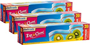 Plastimade Zip'n'Close Disposable Plastic Resealable Storage Bags, 1 Gallon Size, 60 Bags, Great for Home, Office, Vacation, Traveling, Sandwich, Fruits, Nuts, Cookies, Or Any Storage Needs (3 Packs)