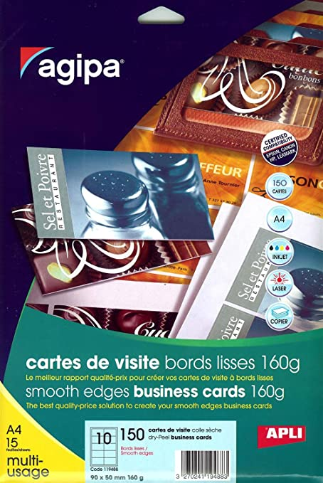 Apli 119488 Pochette De 150 Cartes Visite A Bords Lisses 160 G 90 X 50 Mm Amazonfr Fournitures Bureau