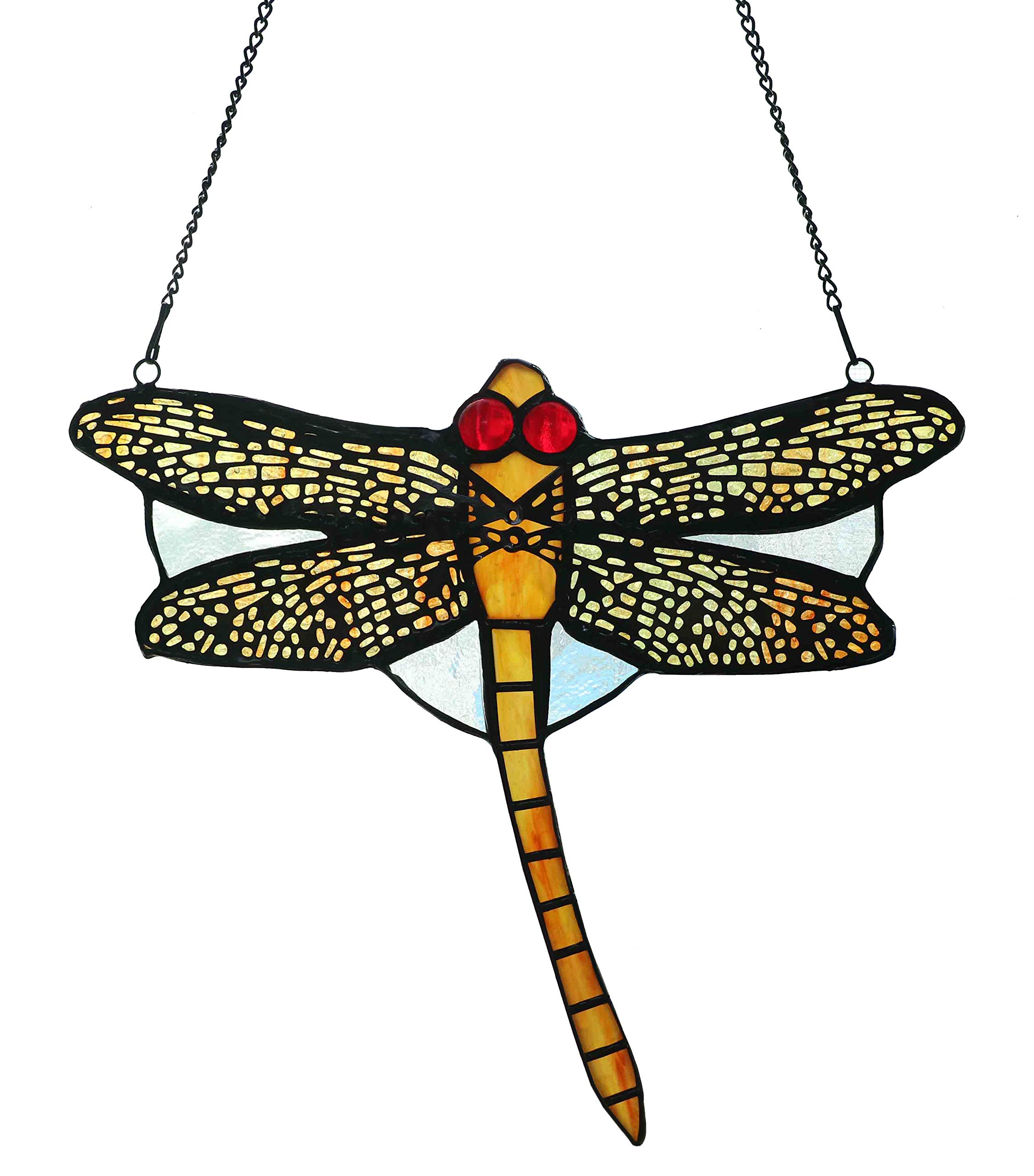 Alivagar Stained Glass Holiday Decor Suncatcher Dragonfly Ornament, 8 1/2'' x 7 1/2''