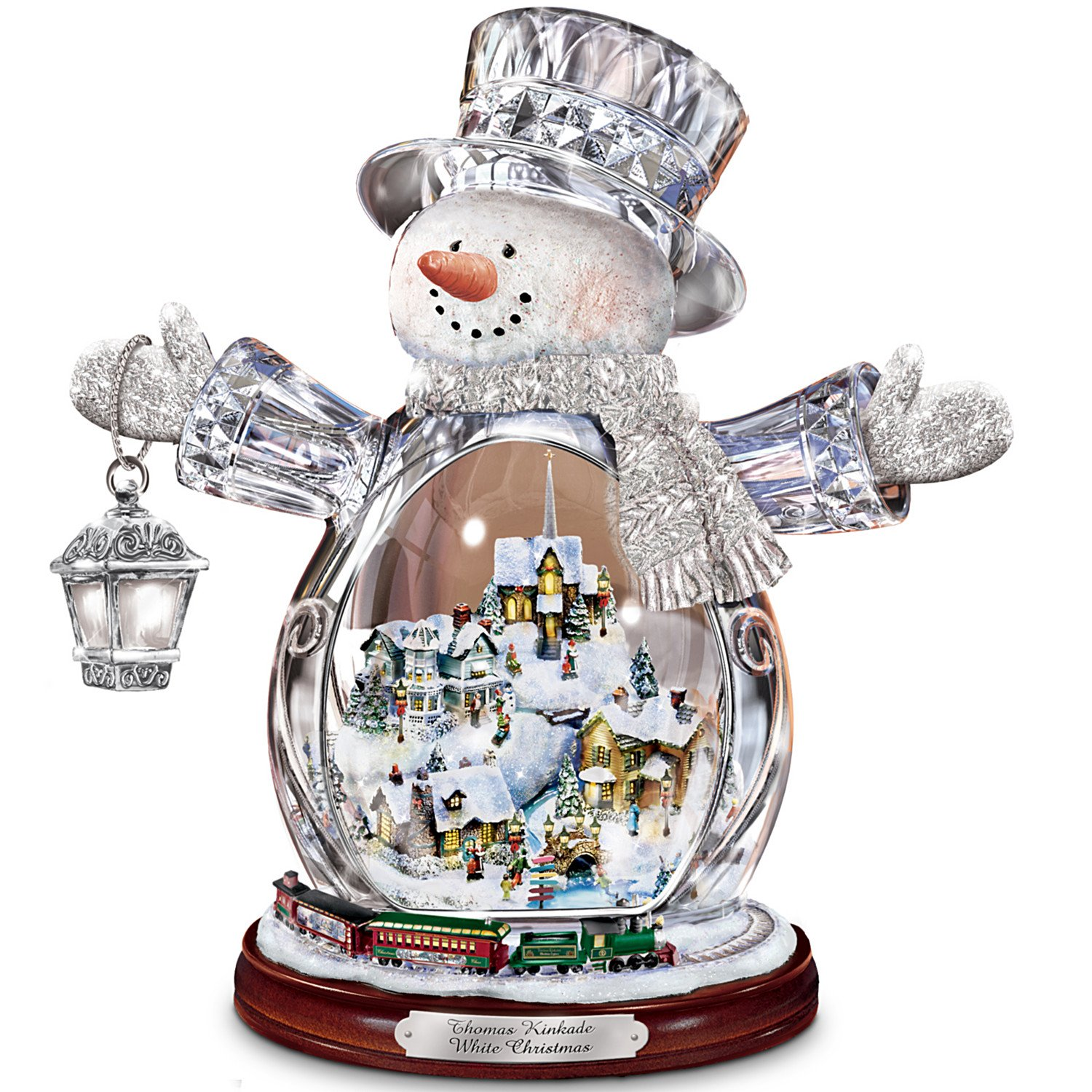 Thomas Kinkade Crystal Snowman Figurine Featuring Light-Up Village And Animated Train by The Bradford Editions (1) by Bradford Exchange