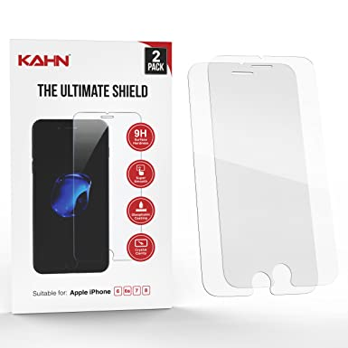 kahn Tempered Glass Screen Protector for Apple iPhone 6, 6s, 7 and 8,  Scratch Resistant, Shatterproof, High Touch Sensitivity (Pack of 2)