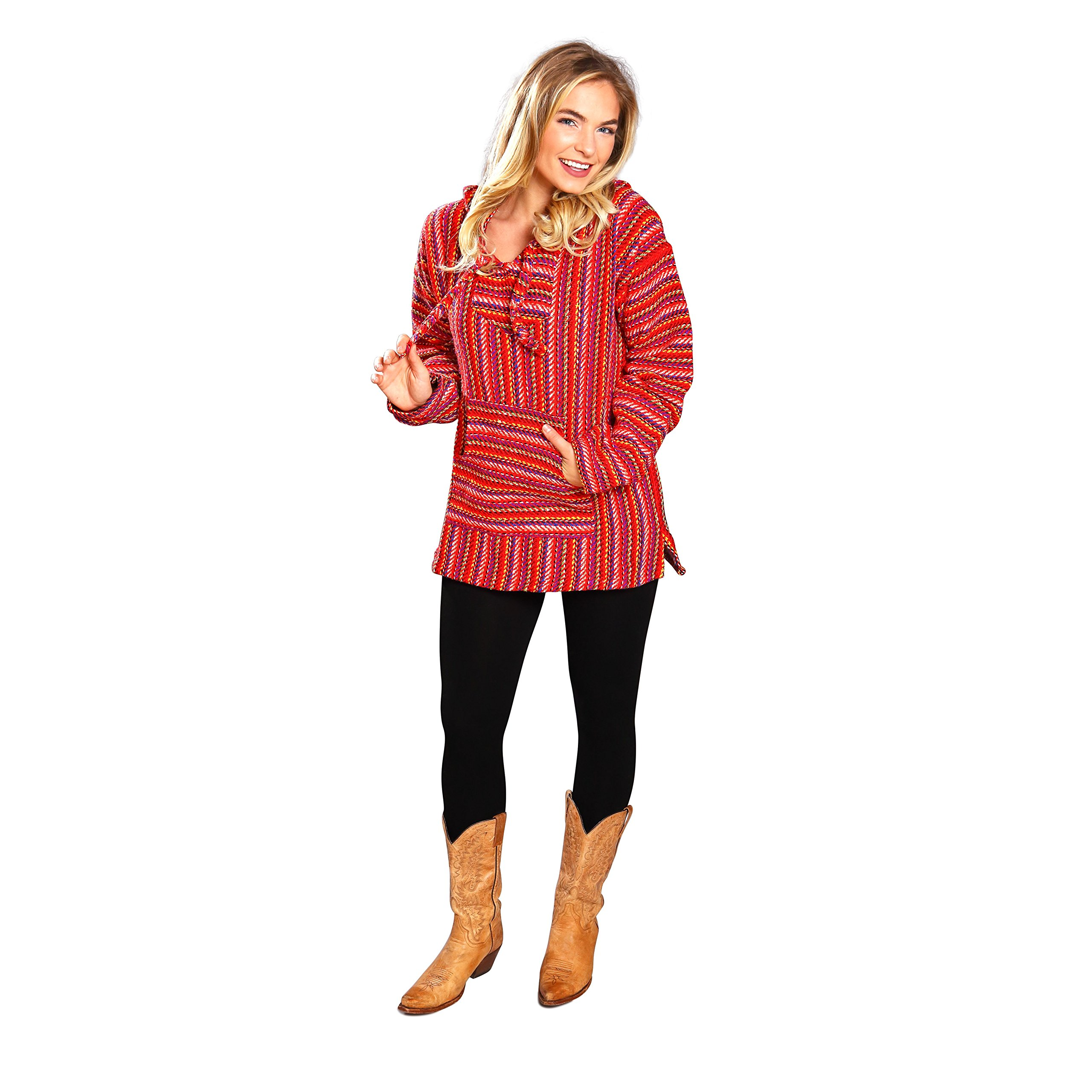El Paso Designs Mexican Style Baja Hoodie Pullover Poncho - For Men & Women (Candy, Medium) by El Paso Designs