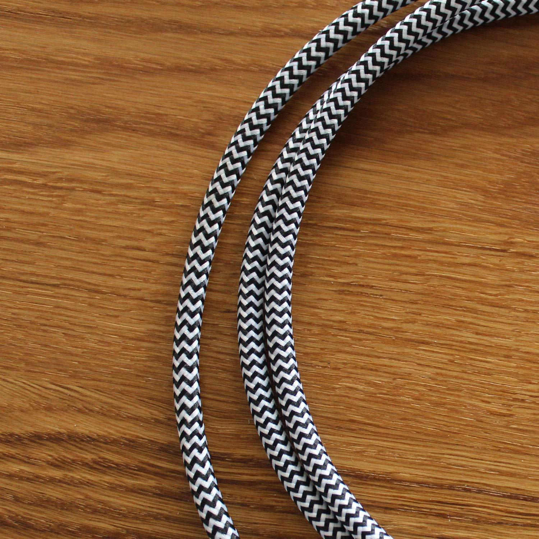 Blanc-Noir - Parfait Pour Les Projets De Bricolage 0,75mm/² Longueur 1 Metre smartect Avec 3 Broches C/âble Electrique Textile Pour Lampe
