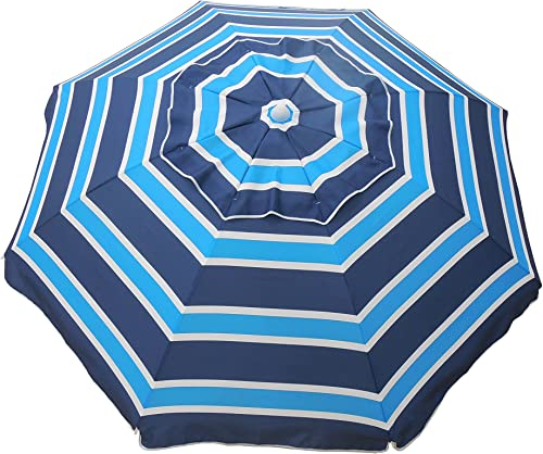 Heininger 1299 Navy Aqua Navy Blue and Aqua 7 Foot Beach Umbrella with Tilt and Travel Bag
