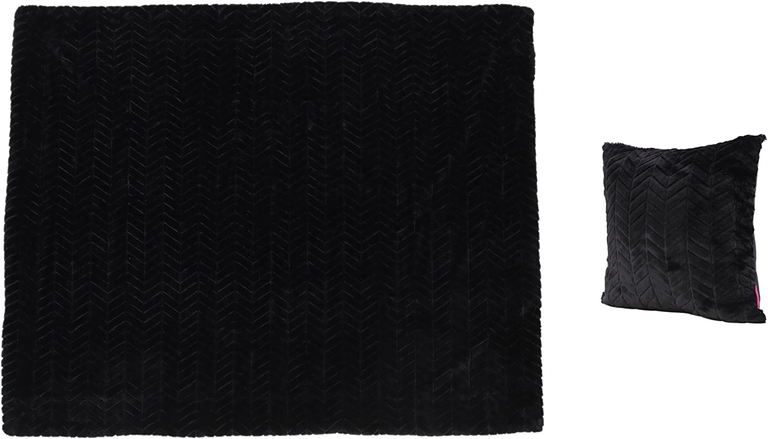 Christopher Knight Home Toscana Faux Furry Pillow and Throw Blanket Combo, 2-Pcs Set, Black